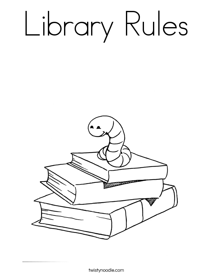 Library Rules Coloring Page Twisty Noodle