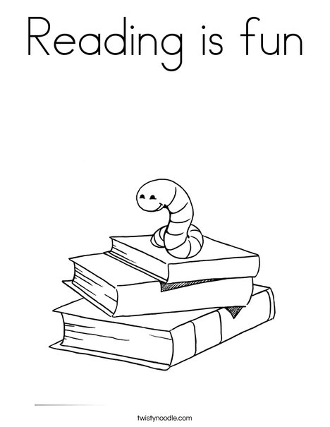 Reading is fun Coloring Page - Twisty Noodle