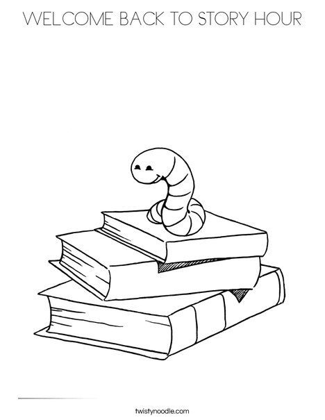 book worm coloring page - Welcome Back Coloring Pages