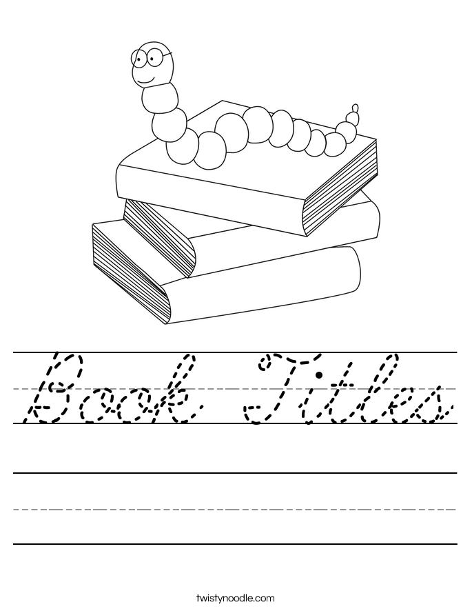 Book Titles Worksheet
