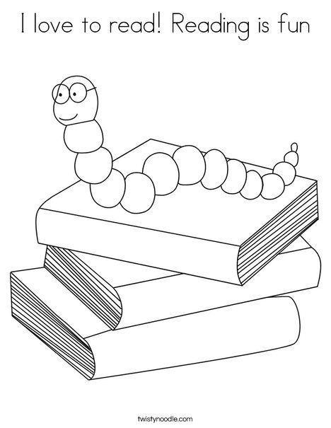 love to read reading is fun coloring page twisty noodle
