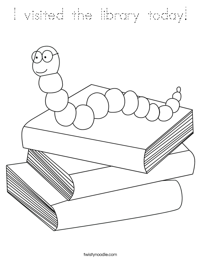 I visited the library today! Coloring Page