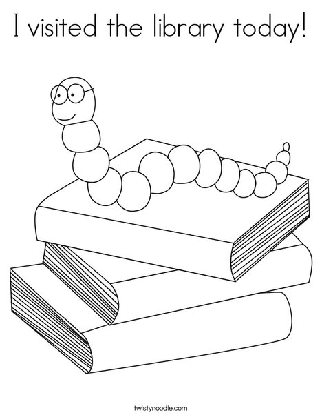 I visited the library today Coloring Page - Twisty Noodle