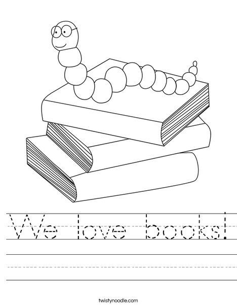 We Love Books Worksheet Twisty Noodle