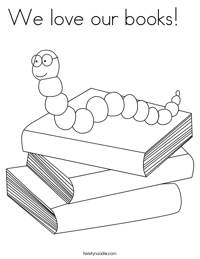 We love our books!   Coloring Page