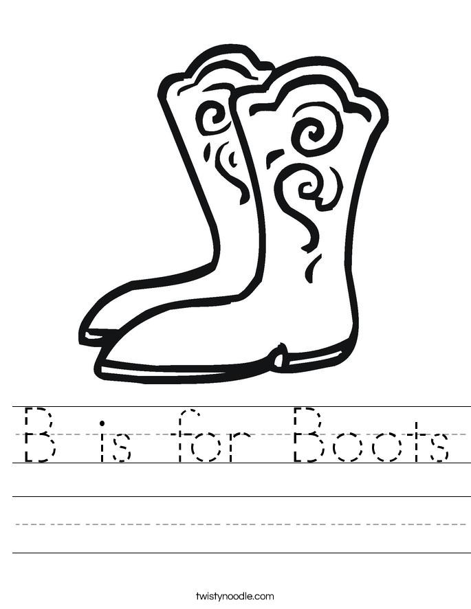 B is for Boots Worksheet