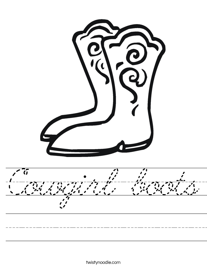 Cowgirl boots Worksheet