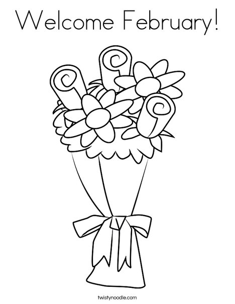 Welcome February Coloring Page - Twisty Noodle