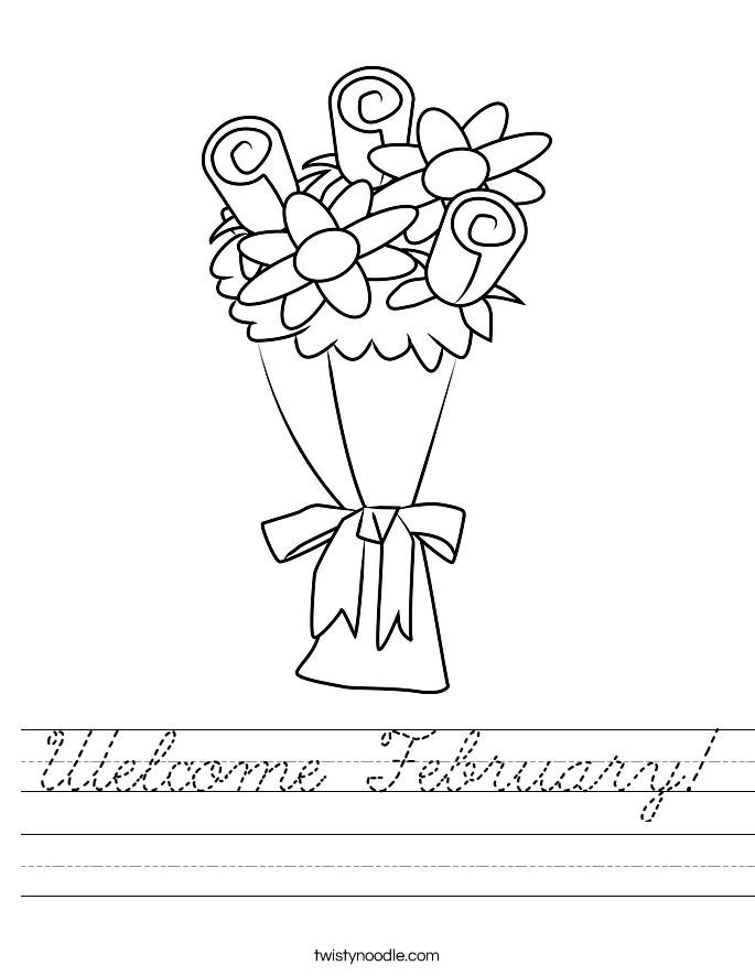 Welcome February Worksheet - Cursive - Twisty Noodle