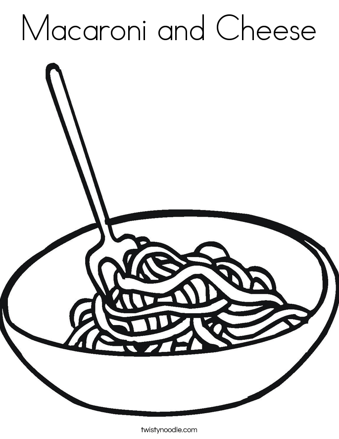 Macaroni and cheese coloring pages coloring page for Twisty noodle coloring pages