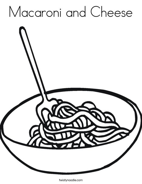 Macaroni and Cheese Coloring Page Twisty Noodle