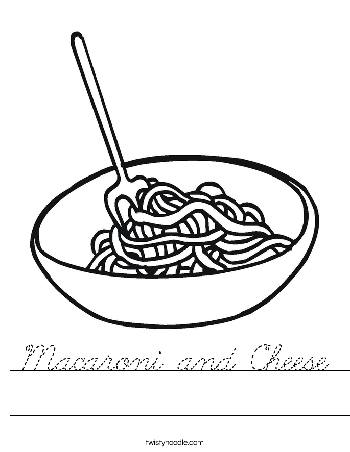 Macaroni and Cheese Worksheet