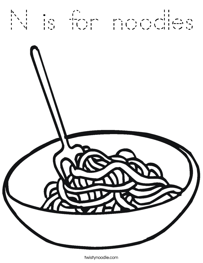 N is for noodles Coloring Page