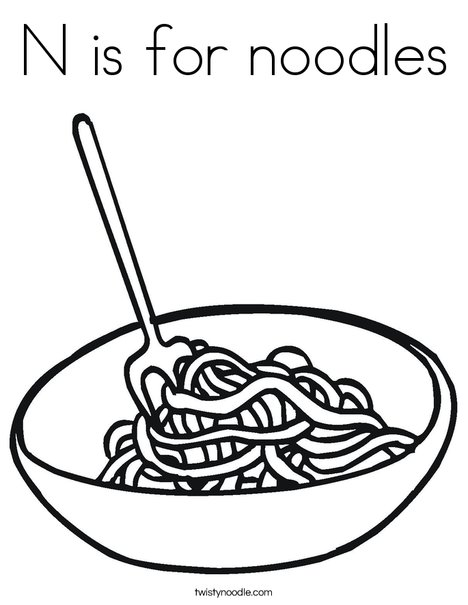 N is for noodles coloring page twisty noodle for Twisty noodle coloring pages