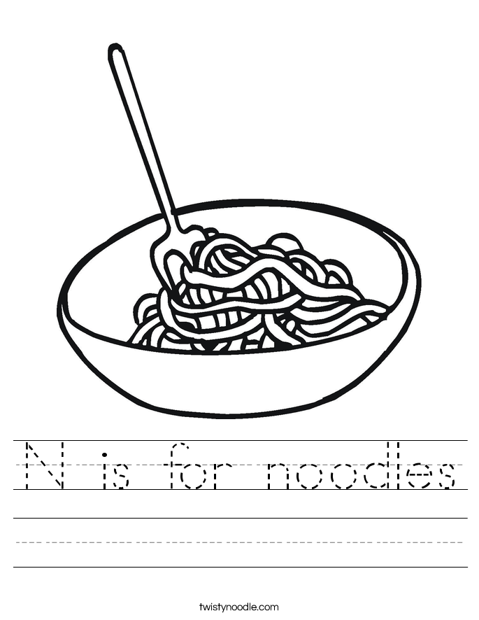 N is for noodles Worksheet
