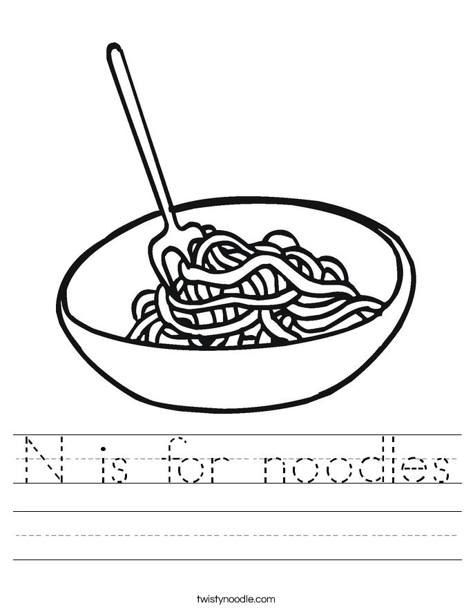 N is for noodles Worksheet