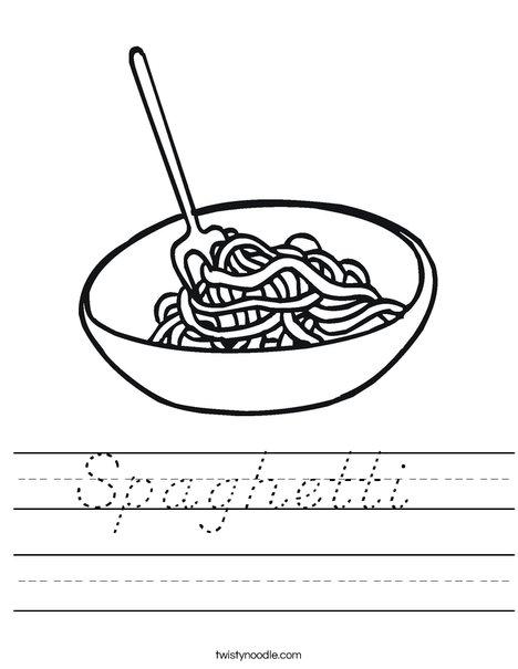 Worksheets For Noodles : Spaghetti worksheet d nealian twisty noodle