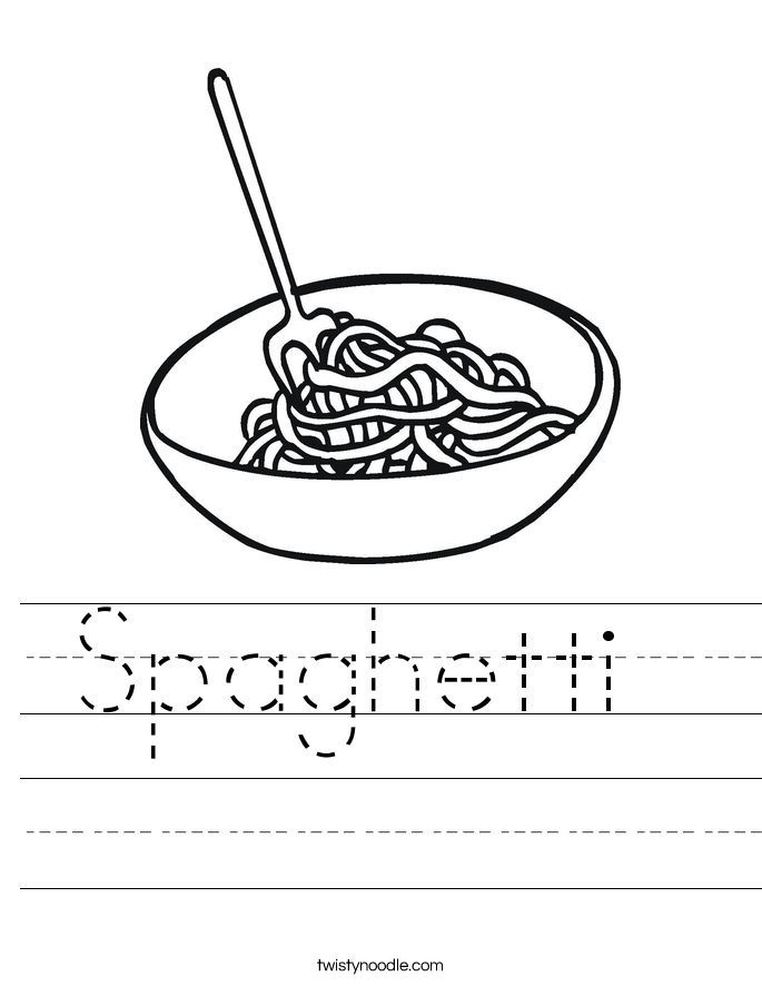 Spaghetti Worksheet Twisty Noodle