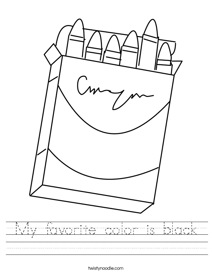 My favorite color is black Worksheet