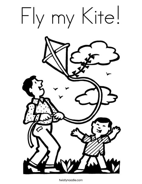 Fly my Kite Coloring Page - Twisty Noodle