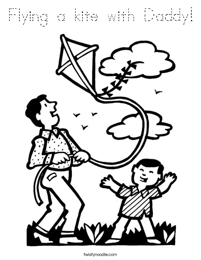 Flying a kite with Daddy Coloring