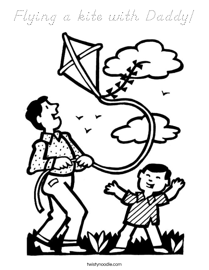 Flying a kite with Daddy! Coloring Page