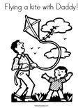 Flying a kite with Daddy!Coloring Page