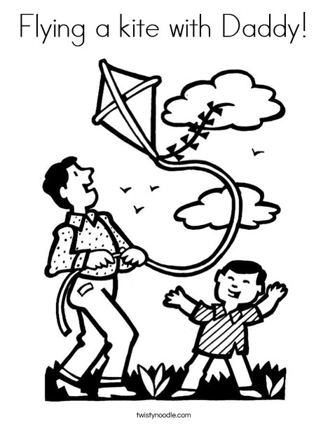 Flying A Kite With Daddy Coloring Page