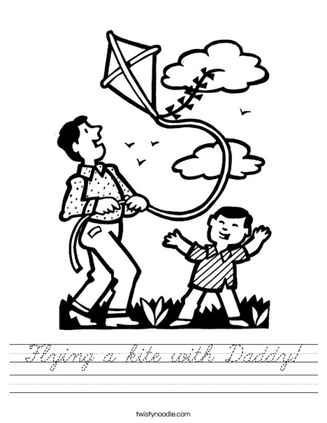 Boy and Dad with Kite Worksheet