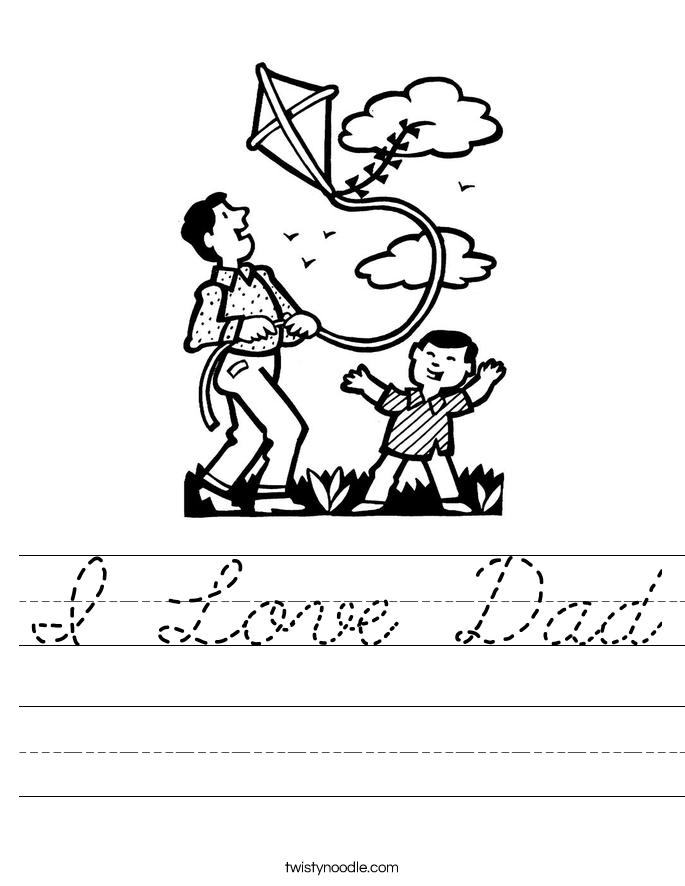 I Love Dad Worksheet