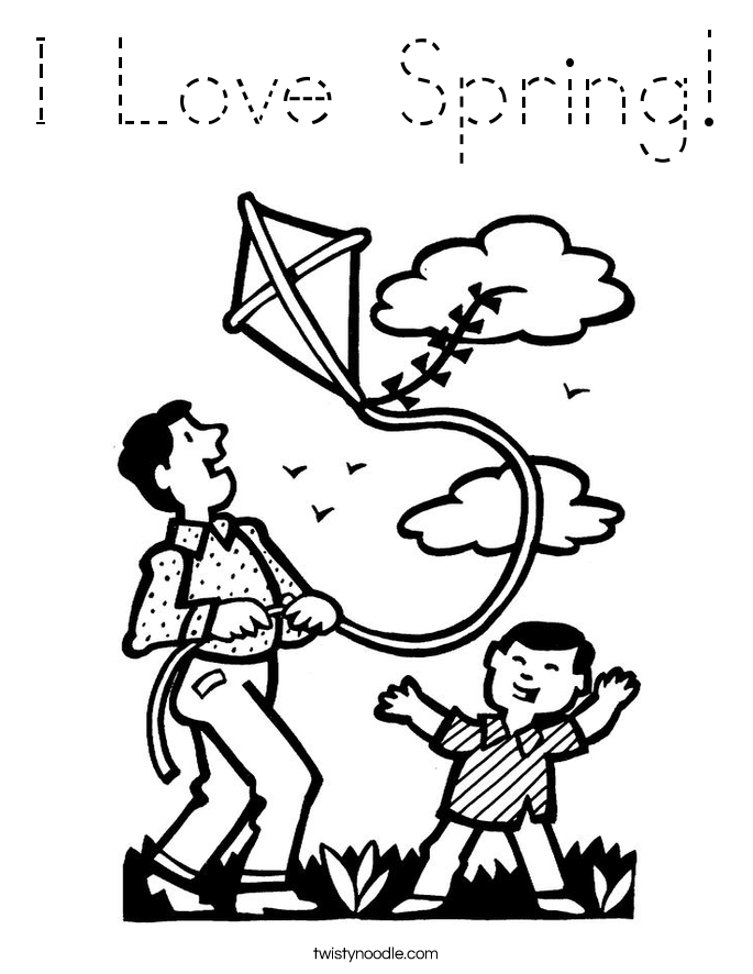 Love Spring Coloring Page - Tracing - Twisty Noodle