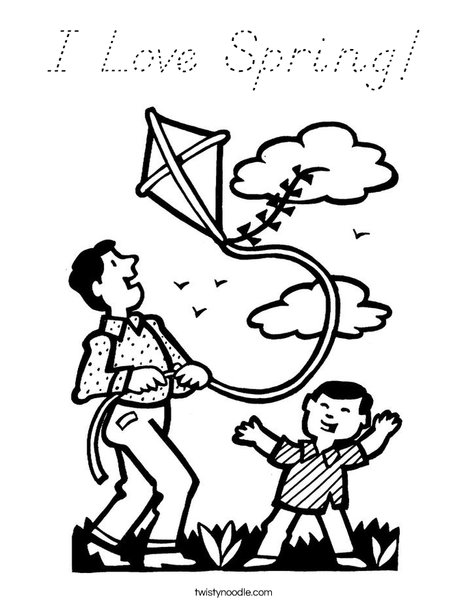 Boy and Dad with Kite Coloring Page