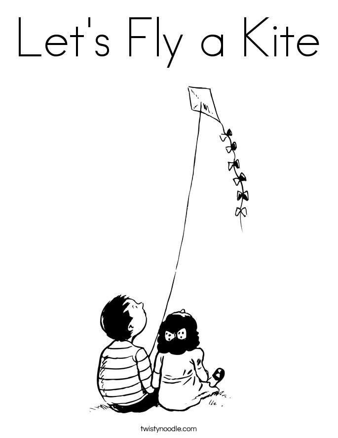 Let's Fly a Kite Coloring Page