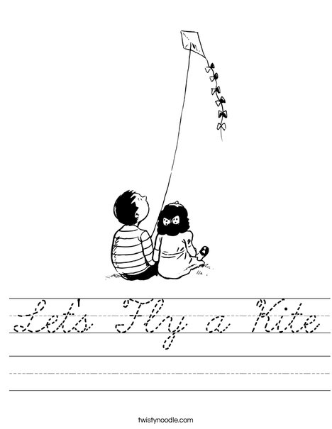 Boy and Girl with Kite Worksheet