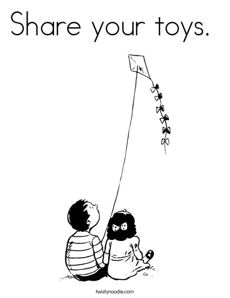Boy and Girl with Kite Coloring Page