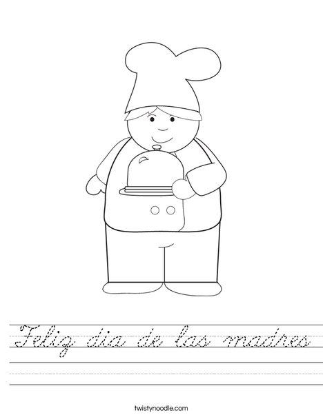 Boy Chef Worksheet