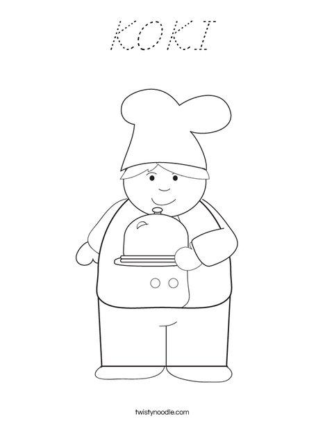 Boy Chef Coloring Page