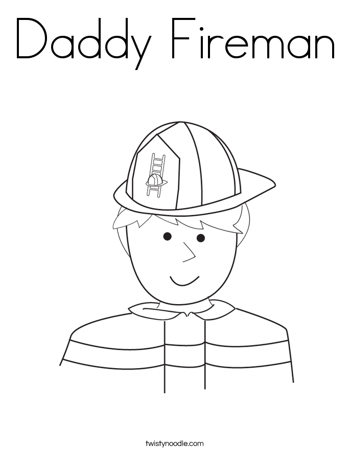 Daddy Fireman Coloring Page