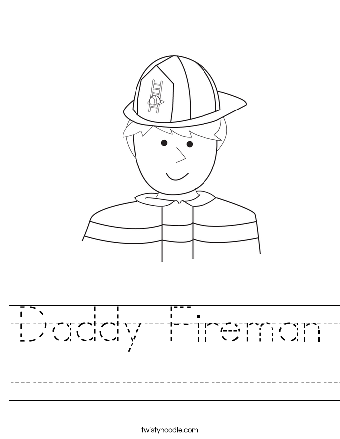 Daddy Fireman Worksheet