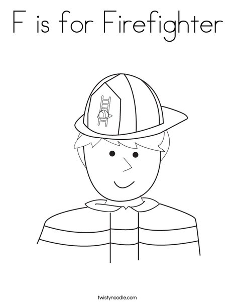 F is for firefighter coloring page twisty noodle for Firefighter hat template preschool