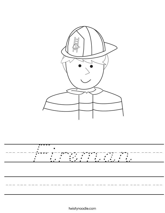 Fireman Worksheet