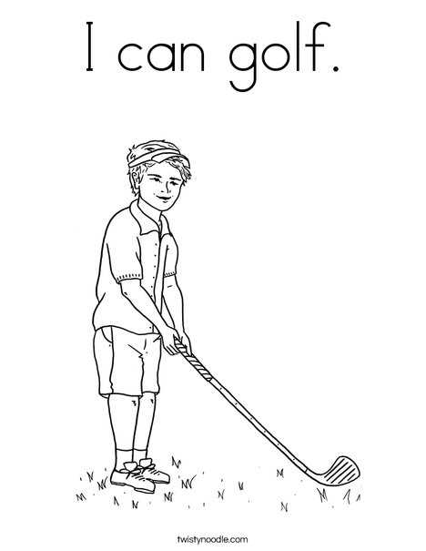 Boy Golfer Coloring Page