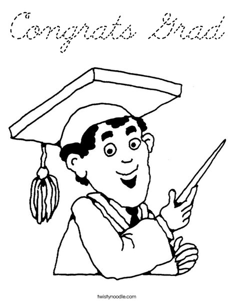 Boy Graduate in Cap and Gown Coloring Page