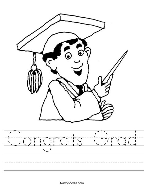 Boy Graduate in Cap and Gown Worksheet