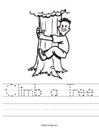 Climb a Tree Handwriting Sheet
