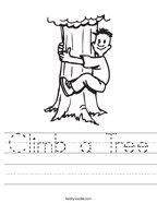 Climb a Tree Handwriting Sheet