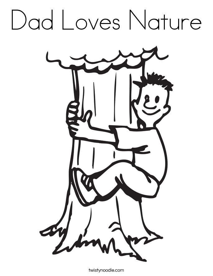 Dad Loves Nature Coloring Page