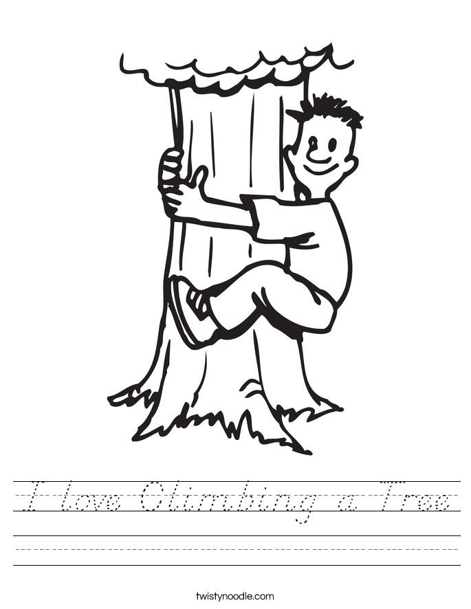I love Climbing a Tree Worksheet