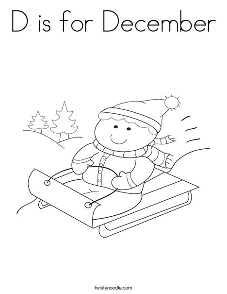 D is for December Coloring Page - Twisty Noodle