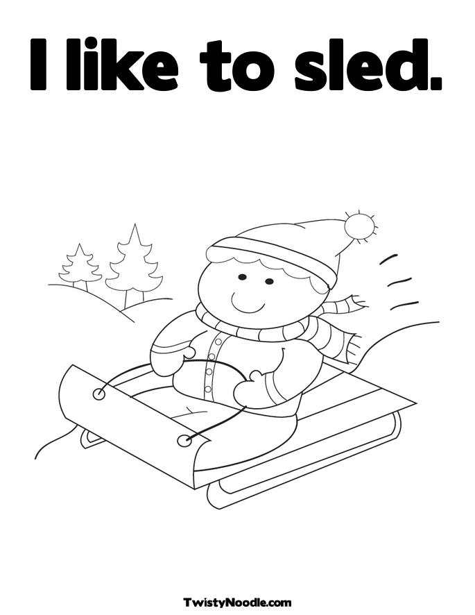 Sledding Coloring Pages. Boy on Sled Coloring Page.